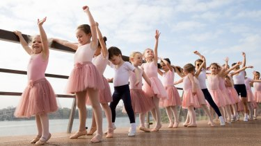 Young ballet dancers gather at the Sydney Opera House to promote <i>The Storytime Ballet: Sleeping Beauty.</i>