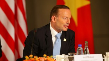 Prime Minister Tony Abbott speaks during a leaders' meeting at the US Embassy in Beijing in November 2014 to discuss the Trans-Pacific Partnership. Talks to finalise the agreement take place in Hawaii this week.