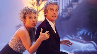 Alex Kingston as River Song and Peter Capaldi as the Doctor in the 2015 Christmas Special.