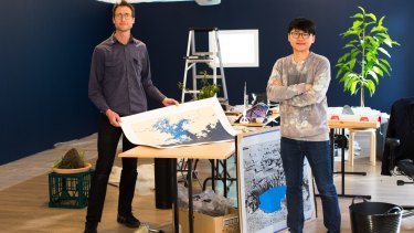 Artists Lucas Ihlein and Trevor Yeung prepare for the opening of their exhibition, <i>Sea Pearl White Cloud 海珠白雲</I>.