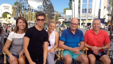 The <i>Sunrise</i> team in 2014, visiting Universal Studios: Natalie Barr, executive producer Michael Pell, Samantha Armytage, David Koch and Mark Beretta.