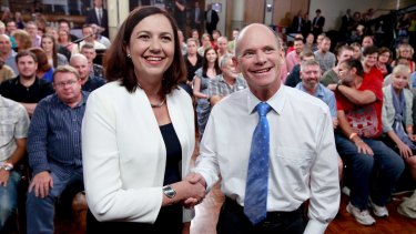 Premier Campbell Newman and Opposition Leader Annastacia Palaszczuk at the The People's Forum.