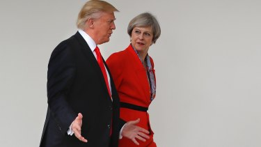 US President Donald Trump and British Prime Minister Theresa May at the White House.