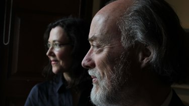 Melbourne artist Louise Hearman, winner of the 2014 Doug Moran National Portrait prize, with her subject, photographer Bill Henson.