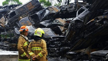 Fire destroyed about 100 cars at Pickles Auctions in Milperra.