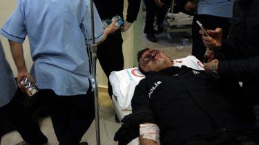 A wounded police officer at an Istanbul hospital after the blasts.