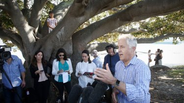 Prime Minister Malcolm Turnbull during a press conference under a tree he played in as a child after he visited the Taste Orange food and wine festival in his electorate.