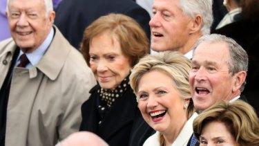 Former President Jimmy Carter, Rosalynn Carter, former President Bill Clinton, Hillary Clinton and Former President George W. Bush.