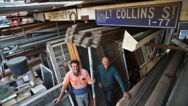 Brothers Robert and Victor Pace at their salvage yard in Bulleen.