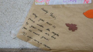 Letters were left at the memorial for the young woman.