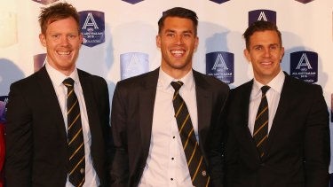 Jack Riewoldt (left), with Alex Rance and Brett Deledio,  was a surprise pick for centre half forward in the All-Australian team.
