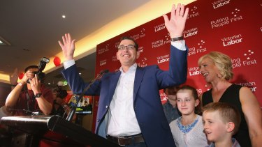 Labor Party leader Daniel Andrews, with his wife Catherine Andrews and family, celebrates the election victory.