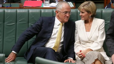 Prime Minister Malcolm Turnbull and Minister for Foreign Affairs Julie Bishop during Question Time in February.