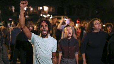 Angry demonstrators in St Paul, Minnesota.