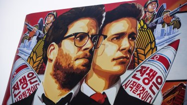 A banner for <i>The Interview</i> posted in Hollywood.