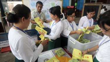 The by-elections were the first test of the popularity of Aung San Suu Kyi's National League for Democracy since it formed the government a year ago.