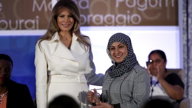 Melania Trump presents the 2017 Secretary of State's International Women of Courage Award to Fadia Najib-Thabet who is from Yemen.The award honors women who have demonstrated exceptional courage, strength, and leadership in acting to improve the lives of others.