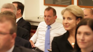 Mr Abbott during the joint party meeting in Canberra on Tuesday.
