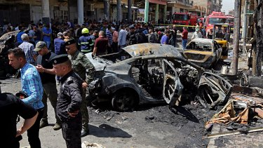 The site of a deadly bomb attack in the Karrada neighbourhood in Baghdad, Iraq.