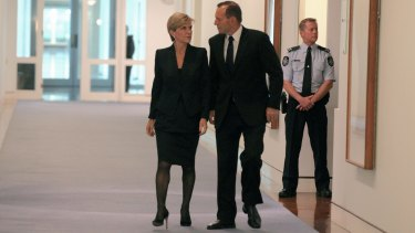 Ms Bishop and Mr Abbott arriving for the press conference.