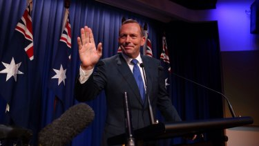 Then prime minister Tony Abbott delivering a national security statement at AFP headquarters on February 23 this year.