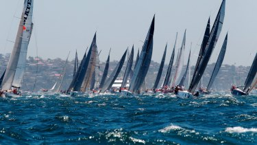 Yachts jostle for position at the start of the Sydney to Hobart on Friday afternoon.