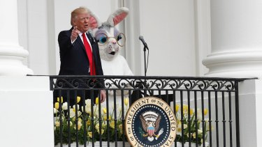 Day 88: Donald Trump is joined by the Easter Bunny at the White House. Asked to compare Trump to an animal, his supporters frequently chose a lion.