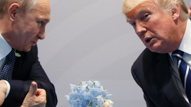 US President Donald Trump meets with Russian President Vladimir Putin  in Hamburg.