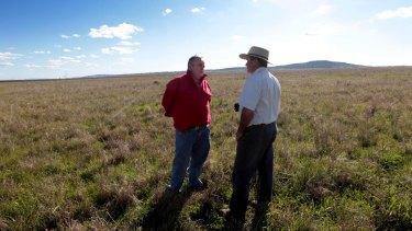 """Andrew Pursehouse, who runs Breeza Station on the Liverpool Plains and Tim Duddy (left) denounced the government's decision, calling it """"agricultural genocide""""."""