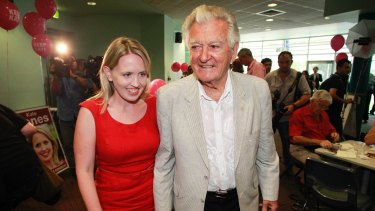 Kate Jones received heavyweight support from former PM Bob Hawke at the last election.