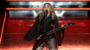Madonna on stage at Rod Laver Arena on March 12.