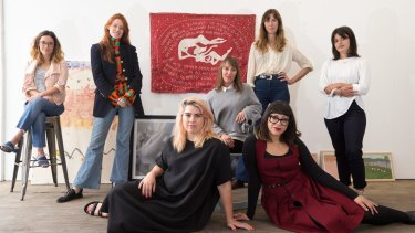 Organisers and participants in the Make Nice conference, a conference for women working in the creative fields, in Surry Hills, Sydney. (L-R) Becky Simpson, Kitty Callaghan, Ngaio Parr, Amy Nadaskay, Arielle Gamble, Jess Scully (front) and Ondine Seabrook.