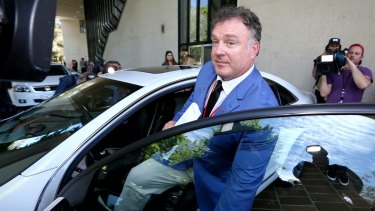 Senator Rod Culleton departs the High Court of Australia in Canberra on Monday.
