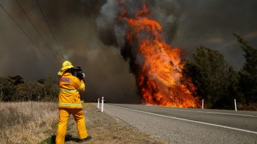Drying times: a fire burning along at Richmond Vale earlier this month.