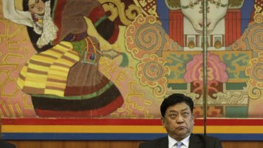 Padma Choling, chairman of the People's Congress of Tibetan Autonomous Region, in the Tibet Room of the Great Hall of the People in Beijing on Monday.