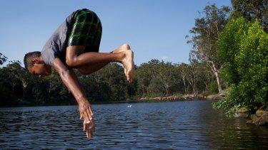 Locals cool off at Parramatta Lake.