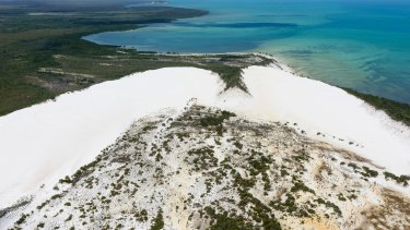 The area includes the only untouched area of pure-white sand dunes in Australia, in which small freshwater lakes appear to float.