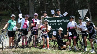 Women cyclists at Mount Buffalo National Park on a Tribal Cycling ride. Tribal Cycling actively encourages the growth of women's cycling through women-only skills clinics and cycling retreats.