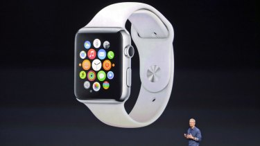 """Not quite finished"": CEO Tim Cook reveals the Apple Watch."