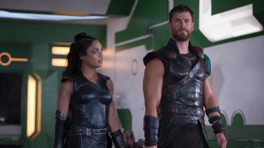 Valkyrie (Tess Thompson) and Thor (Hemsworth) in <i>Thor: Ragnarok</I>. Hemsworth says he enjoyed working on the movie 'where you laugh every single day and have a good time'.