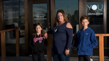 Watersun victim Amber Heath with children Ellie and Sam at their home in Werribee.