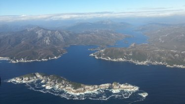 A birdseye view of south-west Tasmania, where the devil droppings were found.