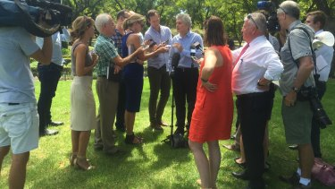 Stephen Smith outlines his strategy to the press at Hyde Park.