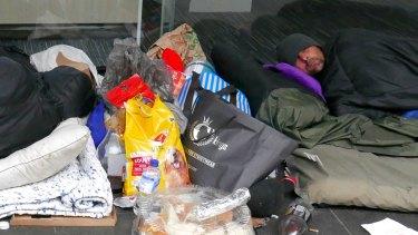 Rough sleepers along Elizabeth Street in Melbourne.