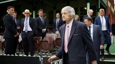 Richie Benaud is the centre of attention as cricket greats assemble at the SCG to help Channel Nine promote its coverage of cricket over the summer.