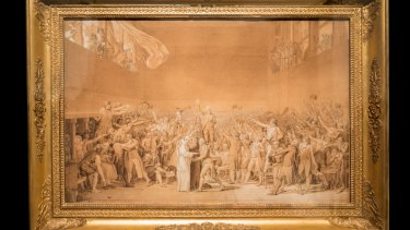 Jacques-Louis David, The Oath of the Tennis Court at Versailles, 20 June 1789, 1791, in Versailles at the National Gallery of Australia.