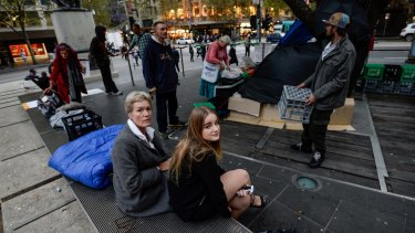 Sharon Kenny and niece Jade Doyle, 16, at the temporary campsite at City Square.