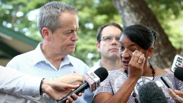 Opposition Leader Bill Shorten with Senator Nova Peris after she announced her resignation from parliament.