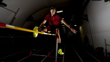 High jumper Brandon Starc training at the AIS on Friday. Starc is targeting a medal at the Rio Olympics.
