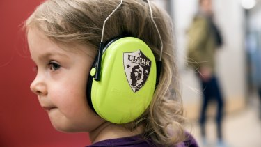 Ear protection helps with crowd noise when there is a game in the FC St. Pauli soccer team's stadium in Hamburg.